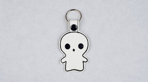 Cute Ghost snap tab key fob machine embroidery design 4x4