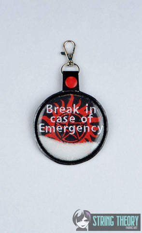 Break in case of emergency Paranormal no demon sigil with trapped salt snap tap key fob ITH 4x4 machine embroidery design