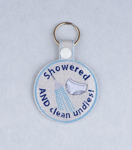 Adult Merit Badge Showered and Clean Undies key fob snap tab ITH embroidery pattern 4x4