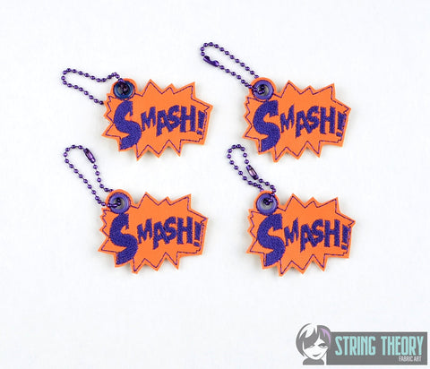 SMASH comic callout 4ITH dangle 4x4 machine embroidery design