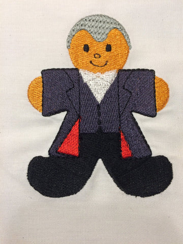 Dr. Space 12th Doctor Gingerbread Man embroidery design 4x4