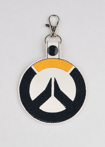Overwatch logo snap tab key fob ITH 4x4 machine embroidery design