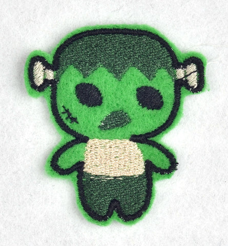 Cute Frankenstein's monster ITH feltie 4 to the hoop machine embroidery design 4x4