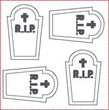 Tombstone ITH feltie 4 to the hoop machine embroidery design 4x4