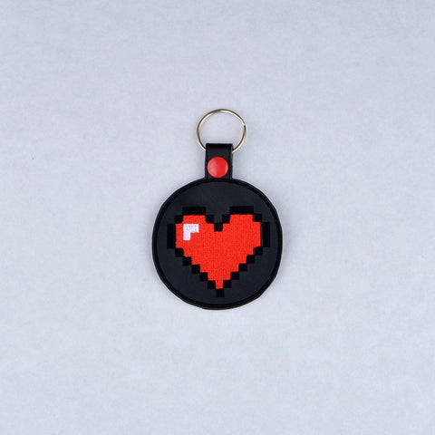 8 Bit Heart snap tab key fob ITH machine embroidery design