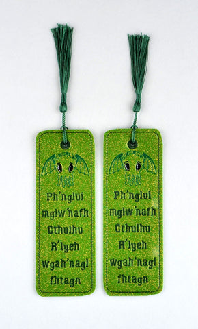 Cutie Cthulhu traditional book mark 2ITH 5x7 machine embroidery design