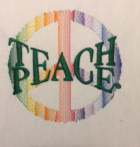 Teach Peace Machine Embroidery Design 4x4