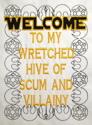 Scum and Villainy 6x10 machine embroidery design