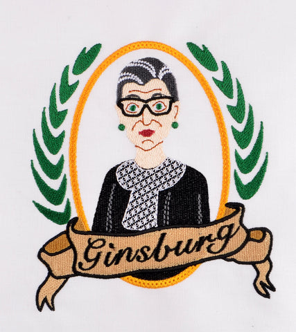 Supreme Court Justice Ruth Bader-Ginsburg 5x7 machine embroidery design