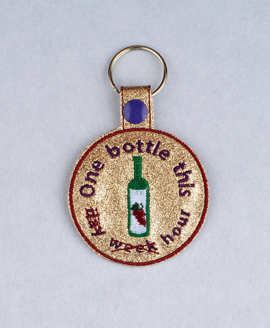 Adult Merit Badge One Bottle of Wine key fob snap tab ITH embroidery pattern 4x4