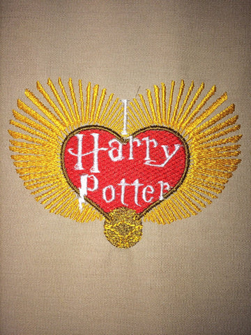 I <3 Harry Potter Snitch Heart Machine Embroidery Design 4x4