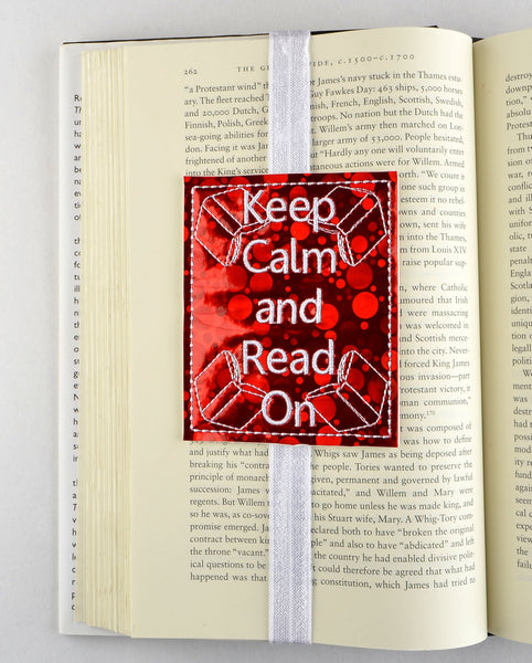 Keep calm and read on bookmark ITH machine embroidery design 4x4