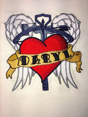 Daryl Old School Tattoo with wings and crossbow 4x4 Machine Embroidery Design