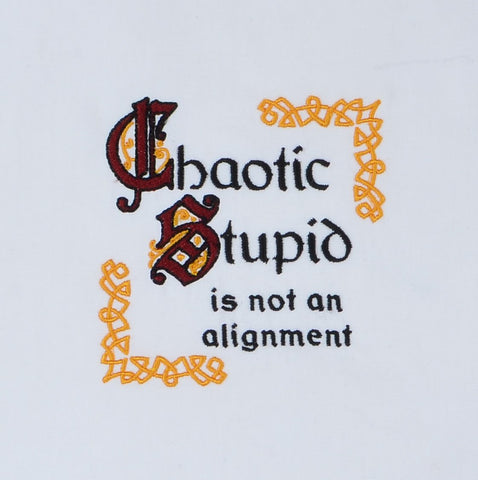 Chaotic Stupid is not an alignment 4x4 machine embroidery design