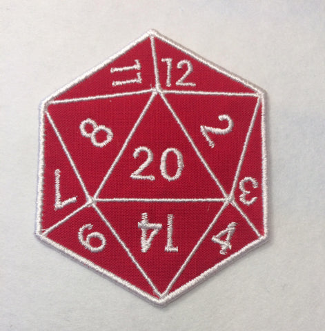 D20 - 20 sided die Badge/Patch/Appliqué embroidery pattern