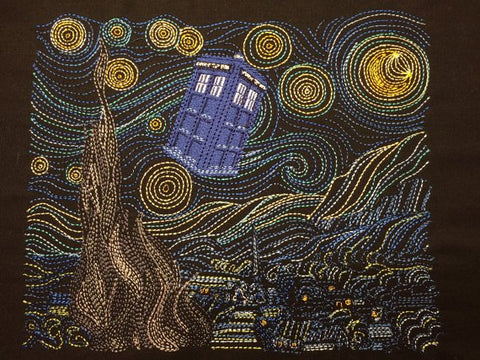 "Starry TARDIS 7.8"" x 11"" (200 x 280 hoop) machine embroidery design"