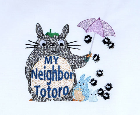 My Neighbor Totoro light stitch 5x7 machine embroidery design