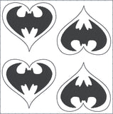 Bat Guy heart feltie 4 ITH machine embroidery design 4x4