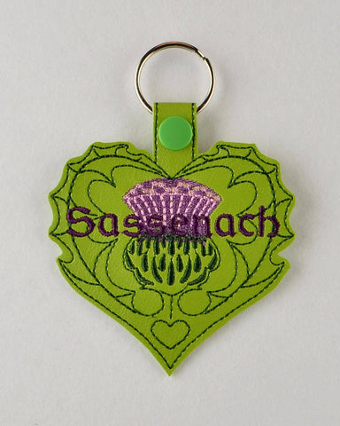 Scottish Romance Thistle Heart fob ITH 4x4 machine embroidery design