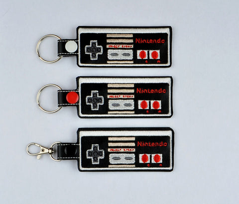 80s Game Controller snap tab key fob 3 ITH AND 1ITH 5x7 machine embroidery design