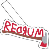 Redrum ax snap tab key fob ITH 4x4 machine embroidery design