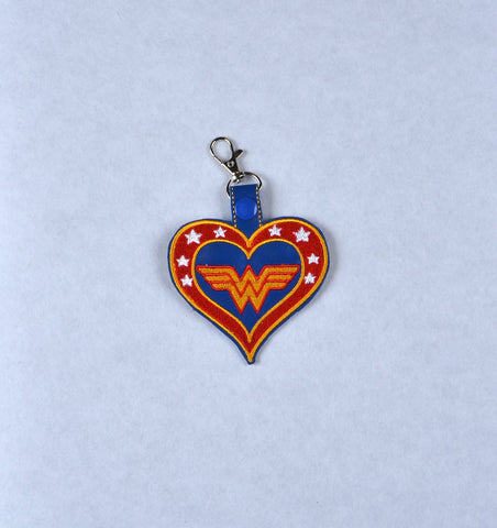 Fabulous Lady Hero heart snap tab key fob machine embroidery design ITH 4x4