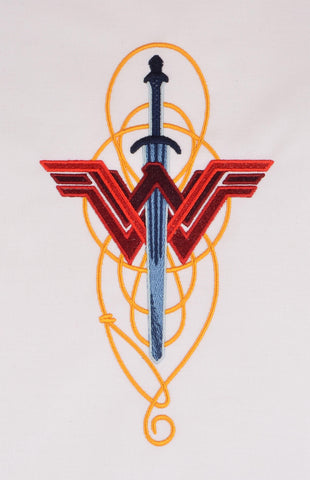 "Fabulous Lady Hero Sword Symbol Lasso 7.9"" hoop machine embroidery design"