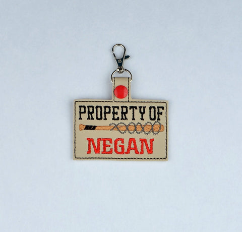 Property of Negan snap tab key fob 4x4 ITH machine embroidery design