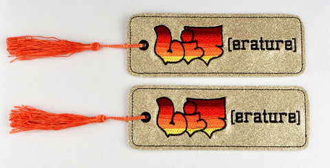 LIT erature 2ITH traditional book mark 5x7 machine embroidery design