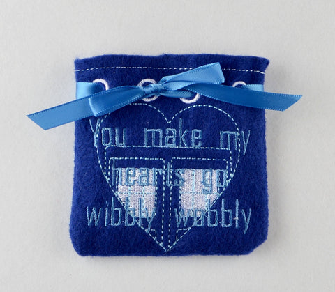 You make my hearts go wibbly wobbly Doctor Who treat bag ITH 5x7 machine embroidery design