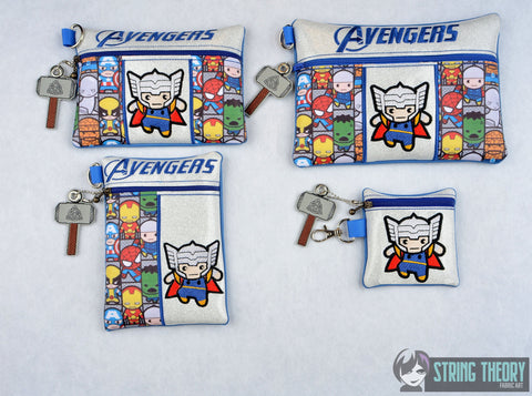 Tiny Heroes Thor zip bag 4 sizes SET with DANGLE ITH machine embroidery designs