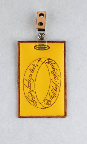 LotR One Ring ID Badge holder ITH machine embroidery design 4x4