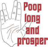 Star Trek Poop Long and Prosper toilet paper 4x4 machine embroidery design
