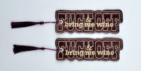 F*ck off & bring me wine traditional book mark 2 ITH 5x7 machine embroidery design