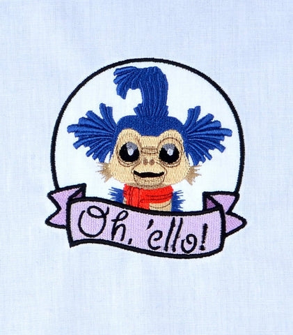 "Maze worm ""Oh, ello!"" machine embroidery design 4x4"