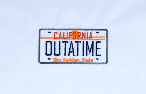 Time Rewind Outatime  plate 4x4 machine embroidery design