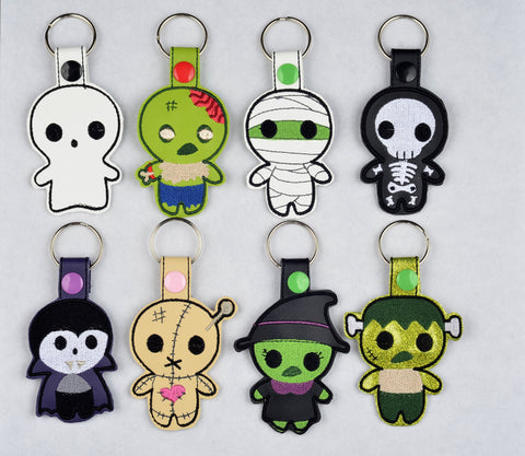 8 different Cute Halloween Monster snap tab key fob  machine embroidery design 4x4