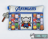 Tiny Heroes Thunder God zip bag SET 4 sizes w/ DANGLE ITH machine embroidery designs