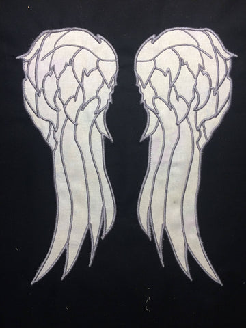 Daryl Appliqué Wings split file Machine Embroidery Design 6x10
