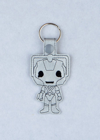Cyberman snap tab key fob ITH machine embroidery design 4x4