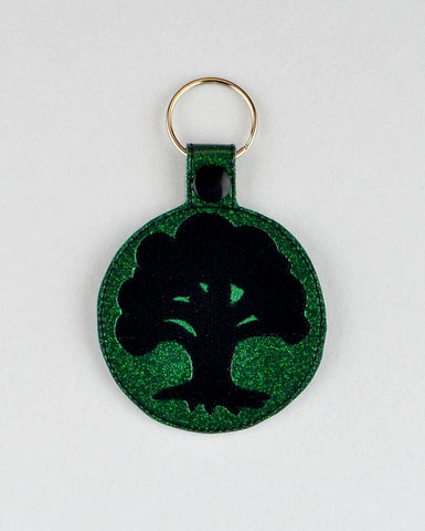 Magic the Gathering Green Mana snap tab key fob ITH 4x4 machine embroidery design