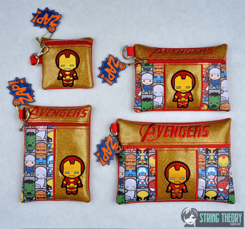 Tiny Heroes Ironman zip bag 4 sizes SET with DANGLE ITH machine embroidery designs