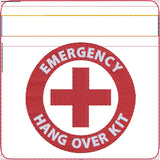 Emergency hang over kit zip bag ITH 4x4 machine embroidery design