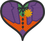 Boy Jester villain heart machine embroidery design 4x4 and 2.5x2.5
