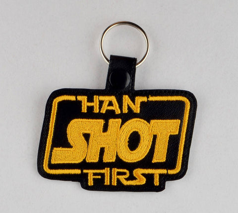 Han shot first snap tab key fob ITH 4x4 machine embroidery design