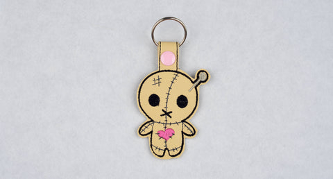 Cute Voodoo doll snap tab key fob machine embroidery design 4x4