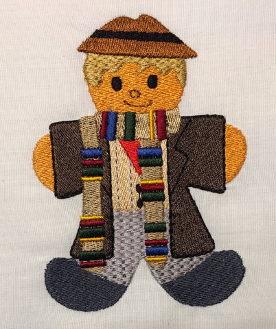 Dr. Space 4th Doctor Gingerbread Man embroidery design 4x4