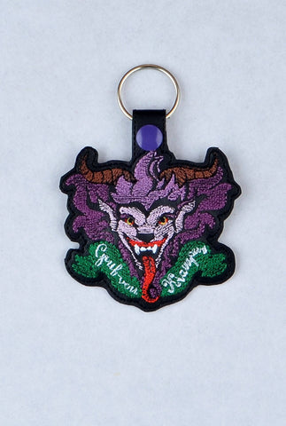 Krampus snap tab key fob ITH machine embroidery design 4x4
