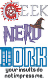 Geek Nerd Dork Supernatural Harry Potter Doctor Who machine embroidery design 5x7
