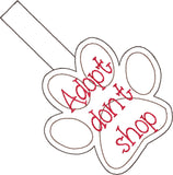 Adopt don't shop snap tab key fob ITH machine embroidery design 4x4